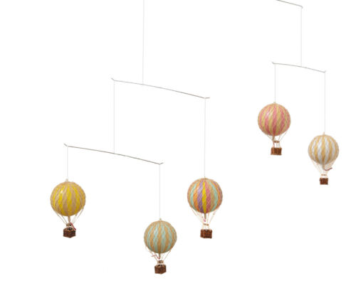 Hot Air Balloon Mobile Rainbow Pastel Hanging Nursery Home Ceiling Decor New