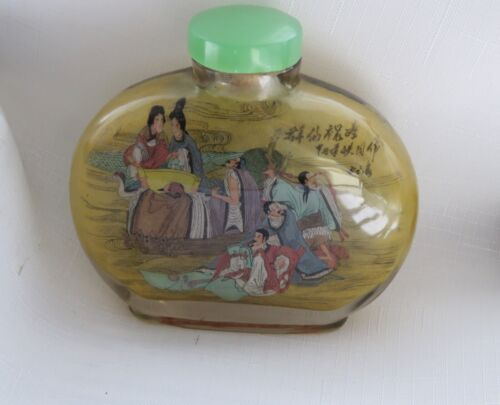 Antique Chinese Reverse Glass Painted Snuff Bottle With Jade Top Signed