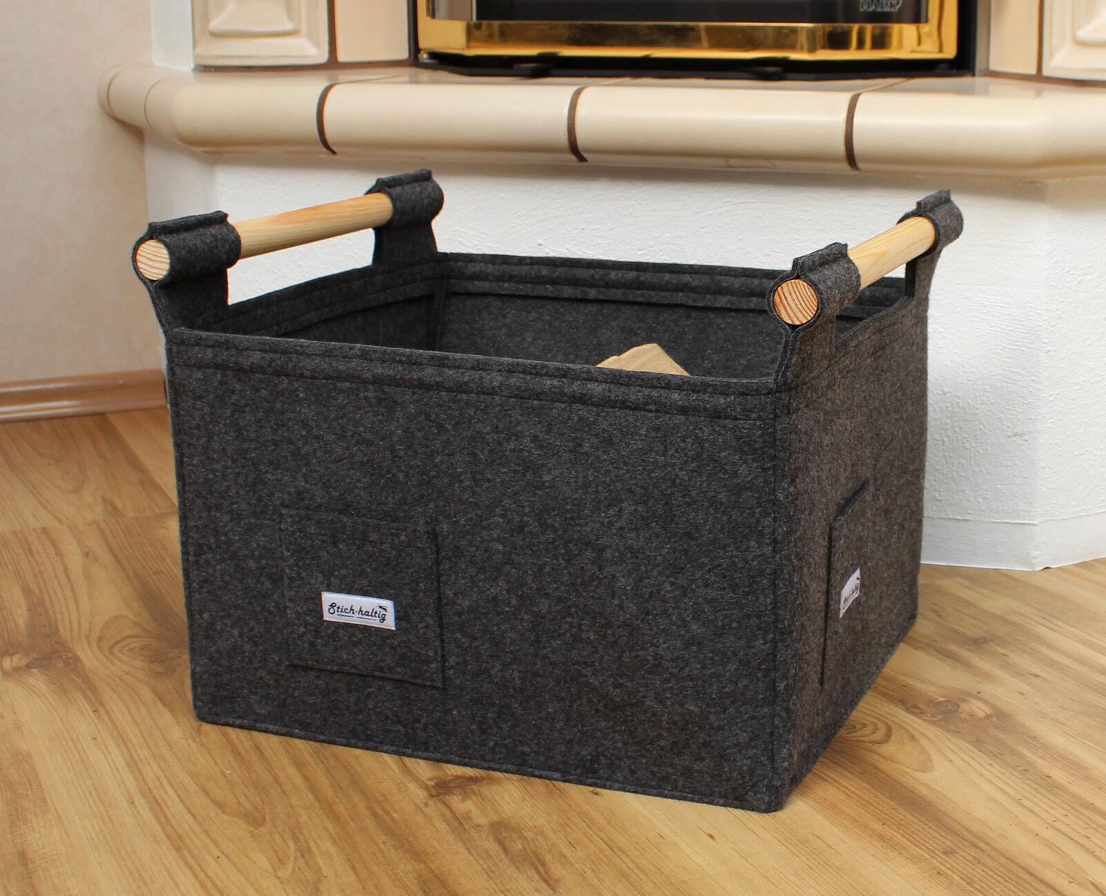 feuerholzkorb holzgriff ofen kamin filz tasche kaminkorb. Black Bedroom Furniture Sets. Home Design Ideas