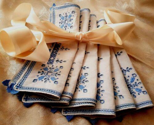 Set- 6 Madeira linen tablecloth, Richelieu embroidery openwork flower