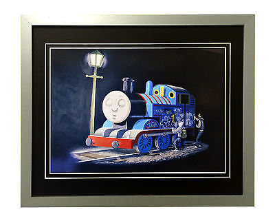"""Banksy Framed""""Thomas The Tank Engine"""" Silver Frame With Double Black Mount"""