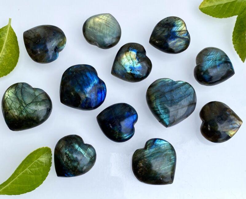 Wholesale Lot 12 PCs Natural Labradorite Heart Crystal Raw Nice Quality