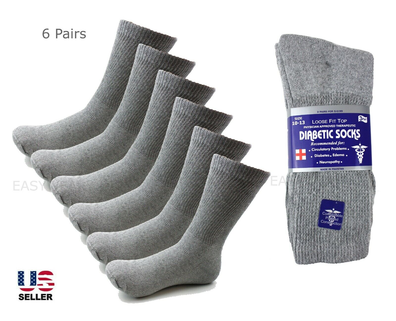 Lot 6 Pairs Diabetic Socks Crew Circulatory Socks Health Cotton Loose Fit Top Clothing, Shoes & Accessories