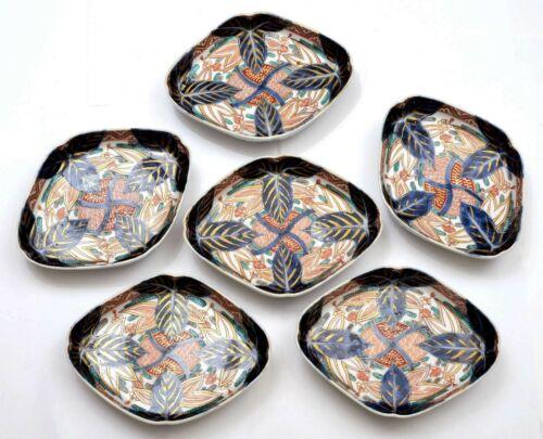 Set of 6 Old Japanese Imari Arita Porcelain Tea Tray Dish Plate