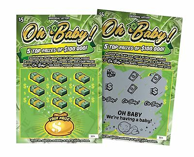 6 Pregnancy Announcement Lottery Ticket Scratch Off Cards | Pregnancy Reveal