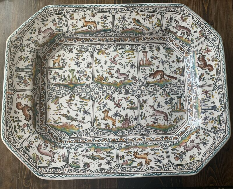 Vintage Hand Painted Wall Hanging Platter Conimbriga Pottery Portugal Sec XVII