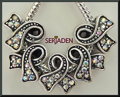 5 Iridescent Awareness Ribbon Glass Stone European Style 12 * 13 & 5mm Hole R096