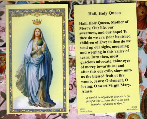 Our Lady with Hail Holy Queen Prayer - Paperstock Holy Card