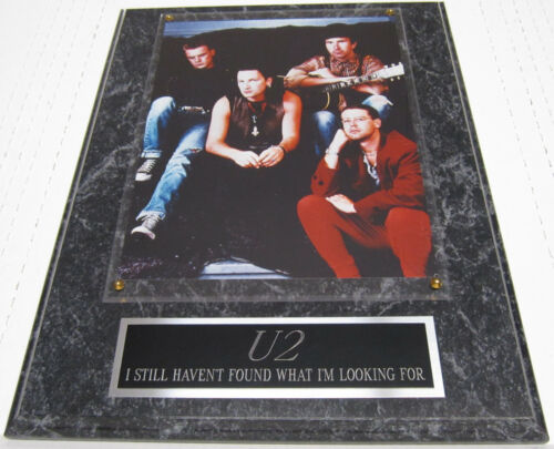 #1 FAN U2 EDGE BONO FRAMED 8X10 PHOTO DISPLAY-12X15 WALL PLAQUE DECOR