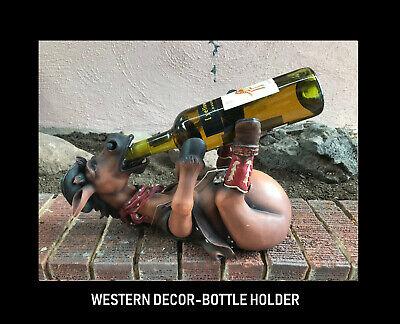 Crazy Cowboy Horse Wine Rack Bottle Holder Western Decor Gift Cabin Bar ware Cowboy Wine Bottle Holder
