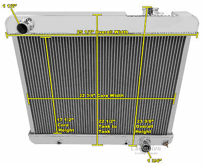 4 Row All Aluminum Performance Radiator For 1960   66 ChevyGM Cars