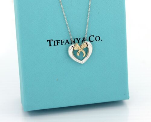 Tiffany & Co.  Heart Bow 18k Gold Sterling Silver Pendant Necklace