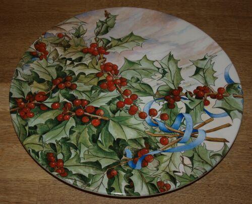 "Gien - France - Le Houx  - Holly & Berries - Cake Plate Platter- 11 3/4"" - MIB"