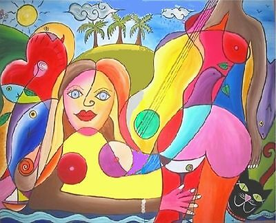 """48"""" Modern Art Contemporary Picasso Style Cubism Painting"""