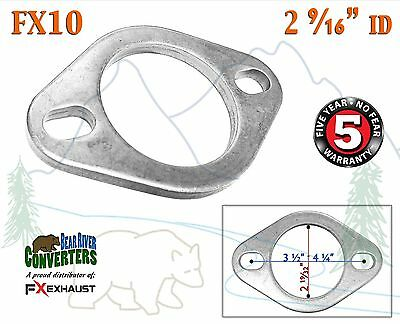 "FX10 2 9/16"" ID Flat Oval Two Bolt Exhaust Flange Fits 2 1/2"" 2.5""- 2.5625"" Pipe"