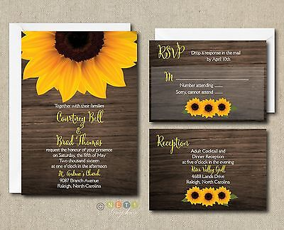 100 Personalized Rustic Sunflower Wood Wedding Invitation Suite with Envelopes