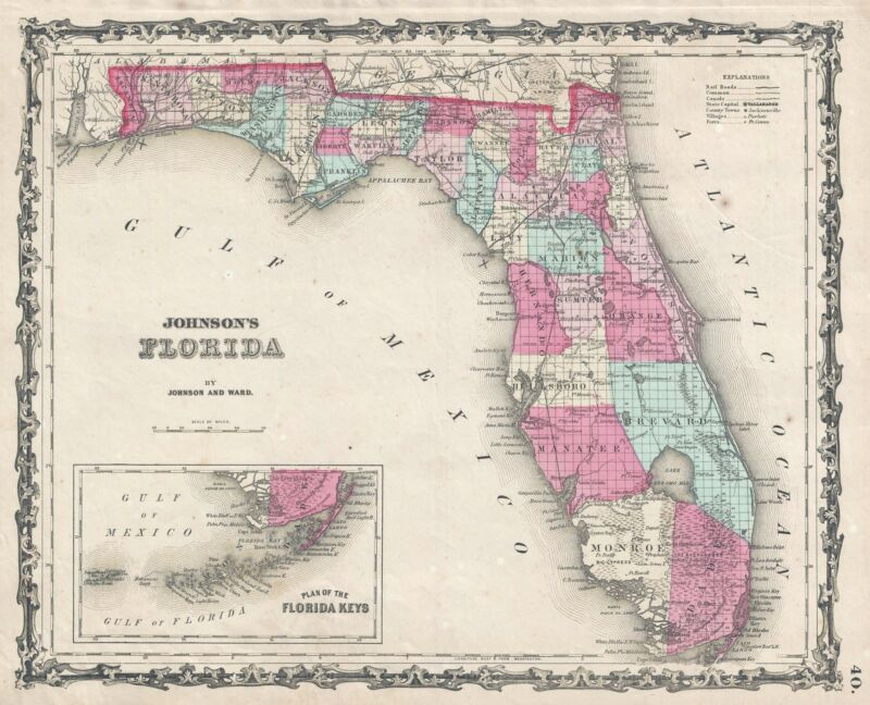 1862 Johnson and Ward Map of Florida