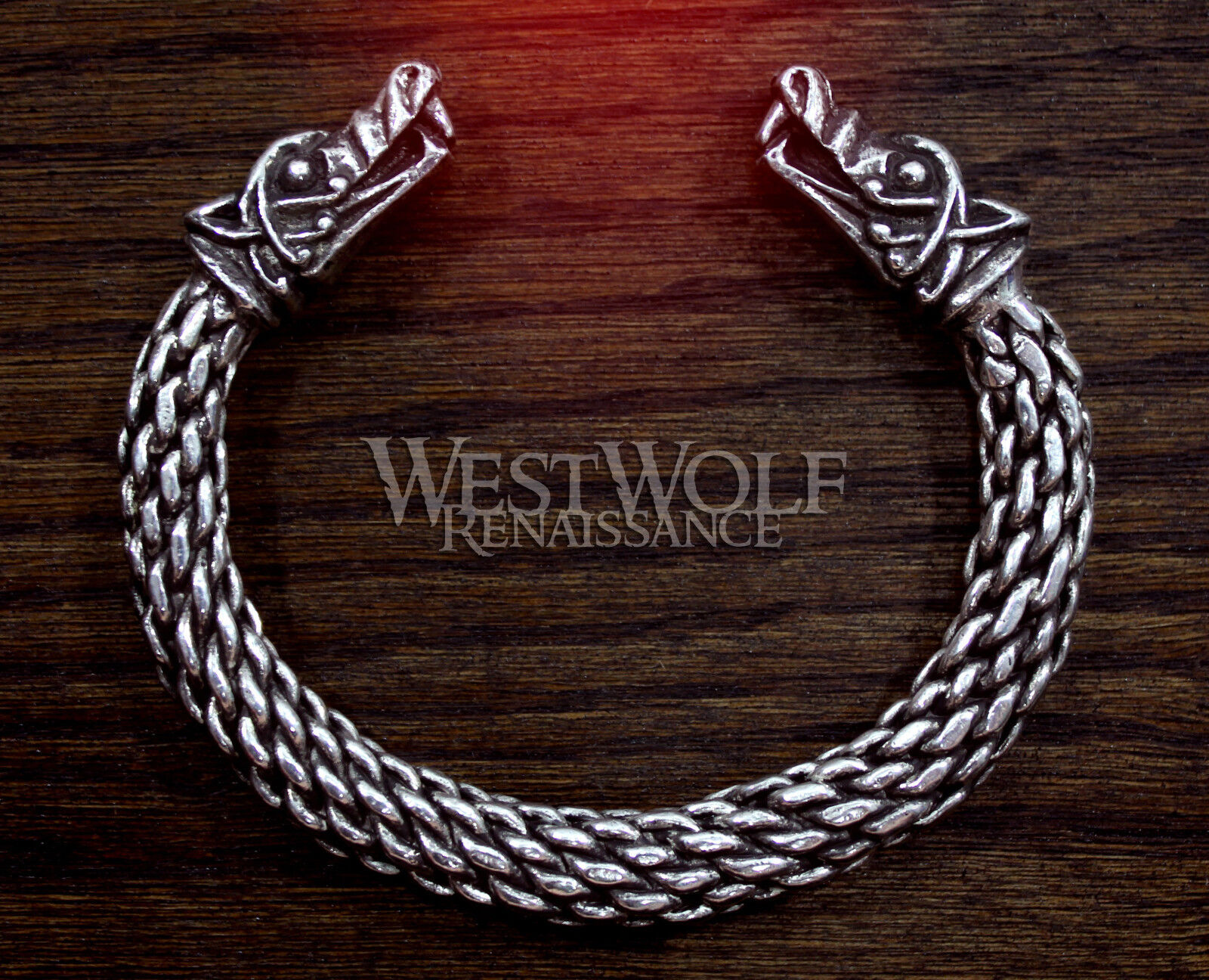 Large Silver Viking Wolf Head Bracelet/Torc --- Norse/