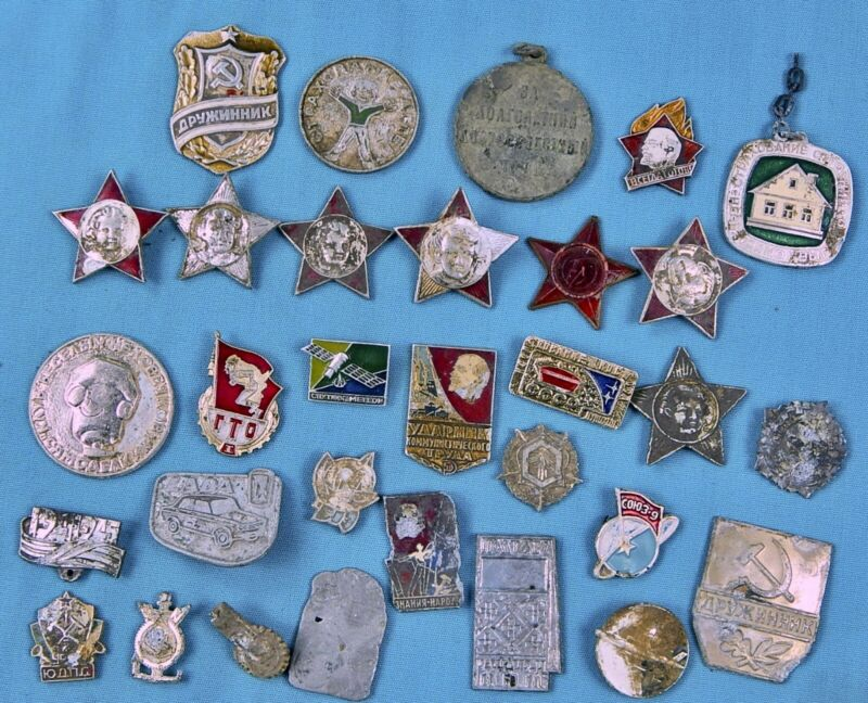 Vintage Soviet Russian Russia USSR Lot of Pin Badge Red Star GTO Oktyabronok