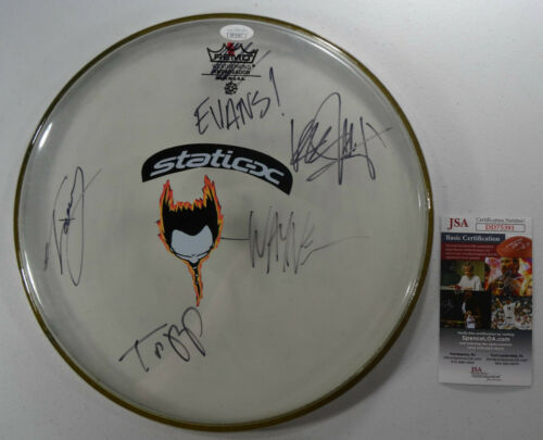 SIGNED STATIC X AUTOGRAPHED 2002 DRUMHEAD ALL 4 WAYNE CERTIFIED JSA # DD75391
