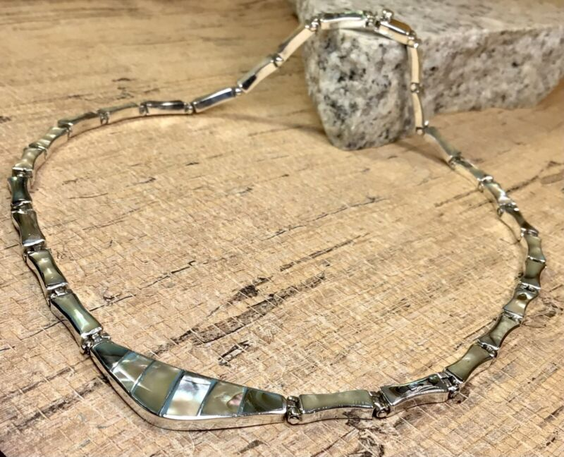 Vintage Taxco Mexico 950 Sterling Silver Abalone Shell Necklace Fine Jewelry