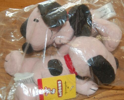 "Lot Hallmark SNOOPY Plush Pink Bean Bag PEANUTS 6"" NEW"