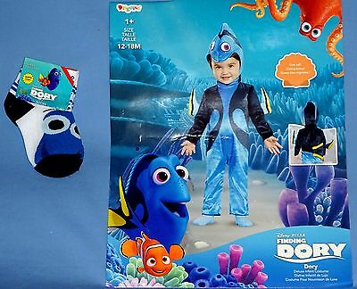 Finding Dory Costume-Toddler 12-18 mo;Ocean Fish;Jumpsuit;headpiece;Disney socks