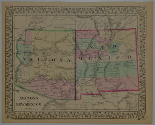 1867 Genuine Antique Map of Arizona & New Mexico. Hand colored. A Mitchell