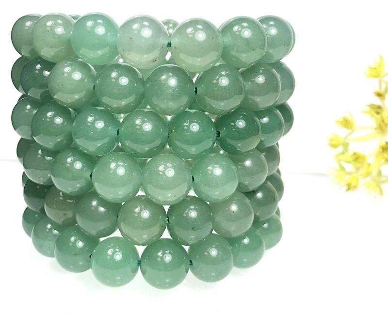 "Wholesale Lot 6 Pcs Green Aventurine 12mm 8"" Crystal Healing Stretch Bracelet"