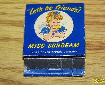 Vintage Sunbeam Bread Matchbook - 1950s - Little Miss Sunbeam