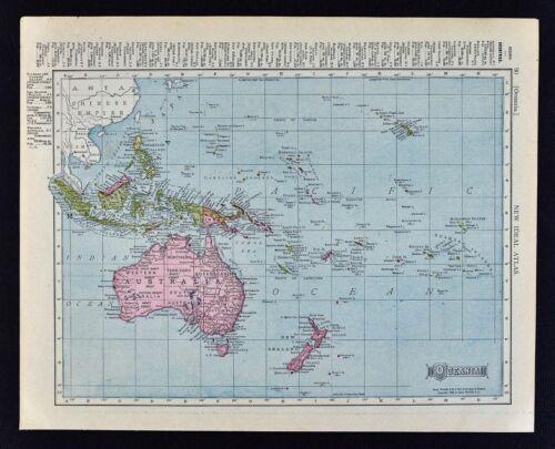 1911 McNally Index Map Oceania Australia New Zealand Malaysia Hawaii East Indies