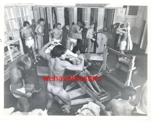 Vintage Male Beefcake Nude Locker Room Gym Towel Fight 70 STATEMENT Pub Portrait