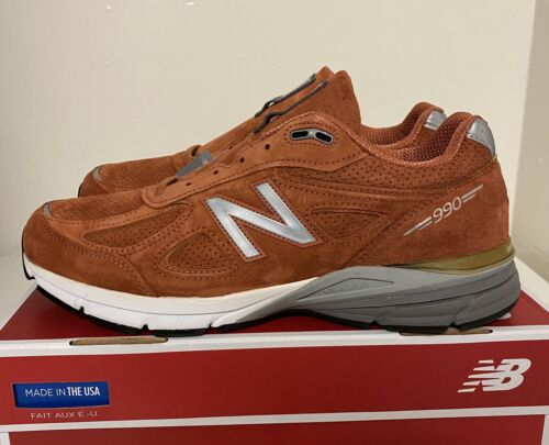 New Balance 990v4 Made In USA Jupiter Burnt Orange Mens Sz 1
