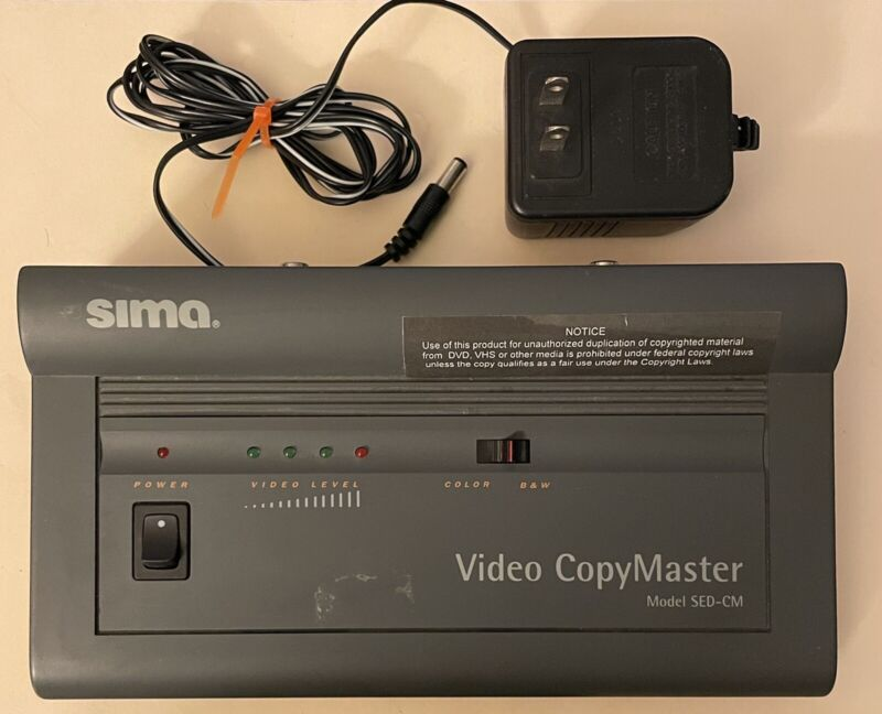 SIMA Video CopyMaster Model:SED-CM Removes Copy Protection VHS Tapes