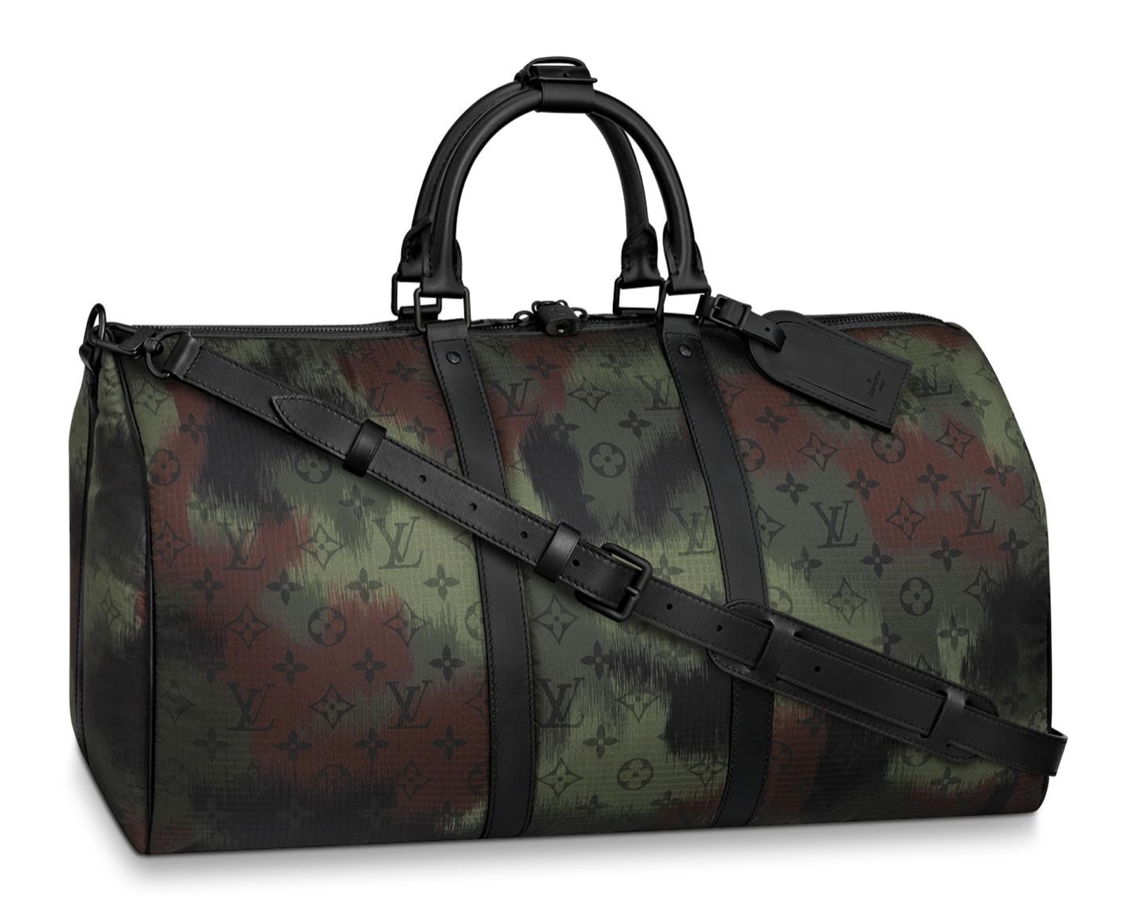 Louis Vuitton Keepall Bandouliere 50 Nylon Camouflage Camo Weekend Travel Bag