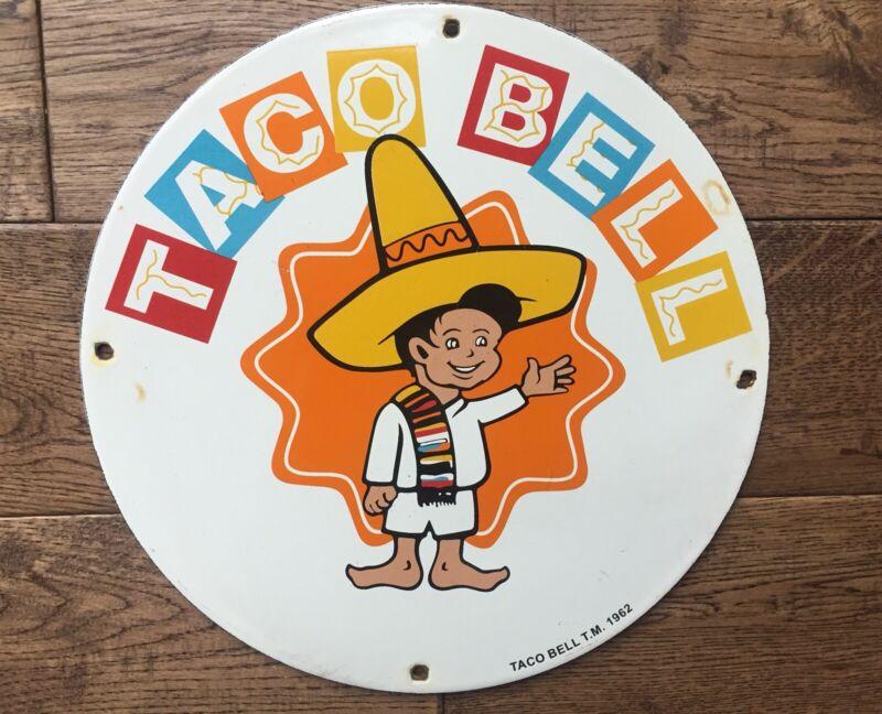 """Vintage TACO BELL Heavy Porcelain Sign 12"""""""