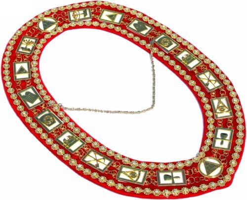 Masonic Regalia ROYAL ARCH RHINESTONE / WHITE / RED BACKING Collar DMR-300GRWRS