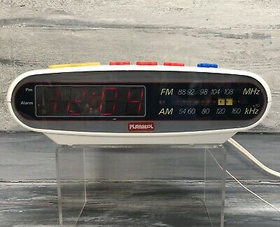 PLAYSKOOL Vintage Kids Digital Alarm Clock Music AM/FM Radio PS-360 WORKS