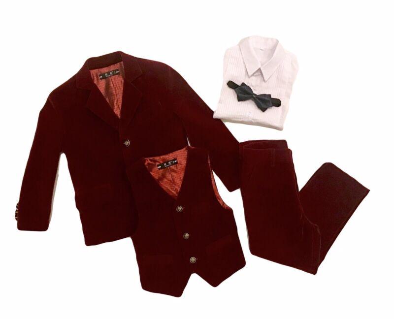 Little Boys Sz 4 Burgundy VELVET SUIT Pants Blazer Jacket Vest Shirt Bow Tie