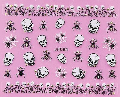 Halloween Black Spiders White Horror Skull GOLD Stud 3D Nail Art Sticker - White Halloween Nails