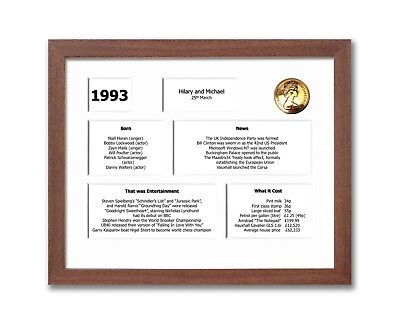 25th Anniversary Framed Souvenir of 1993 Gift Set (Personalised) (2018)