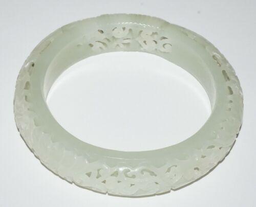 20C Chinese Pierced Floral Motif White Jade Bangle Bracelet  (***)