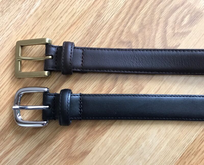 JANIE AND JACK Lot Of 2 Toddler Boys Leather Belts Sz 4-5 Brown Black EUC