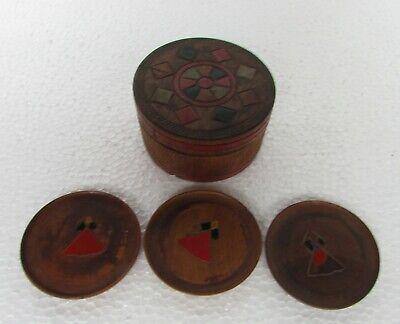 Vintage ancien thé/café dessous de verre boîte en bois fabriqué au japon