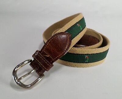 Golf Canvas Ribbon Belt Golfer Club Leather Trim Tan Brown Green 40 Made in USA Golf Golfer Belt