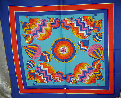 """Hot Air Balloon Bandanna  aprox. 22""""x24"""" Made in USA about 1980's New NOS"""