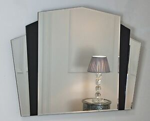 Piermont Black Art Deco Overmantle Fan Shaped Wall Mirror 43