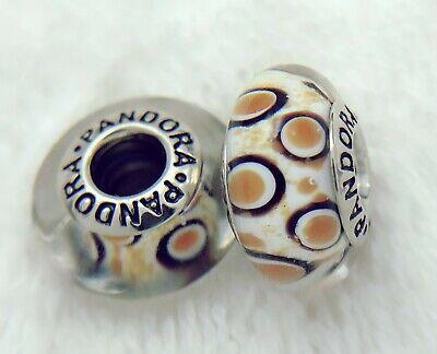 2 PANDORA Silver 925 Murano Charm Brown Leopard Prints Beads #284M
