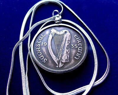 Harp Coin - 1935 IRISH Harp, IRELAND Rare COIN Pendant on a 30