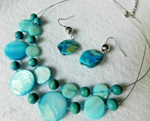 2 Strand Necklace & Pair Earrings Multi Strand Blue Shell / Beads / Stones ??